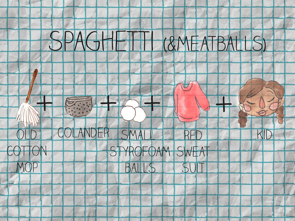 Spaghetti and Meatballs costume, because why not?!