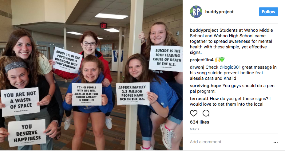 Photo Credit: Instagram/BuddyProject: Middle School students, in Wahoo Nebraska, took to social media with messages of support and awareness for Mental Health Awareness month.