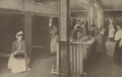 A 19th-century photograph of a women's restroom in a Pittsburgh factory. Author provided.