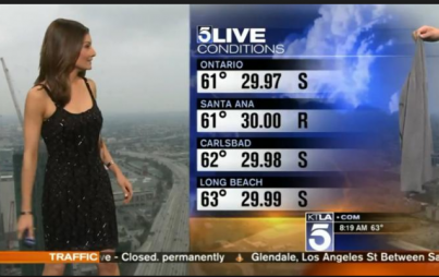 The expectation of women in TV news to appear exactly as viewers want them to normalizes the commodification of a woman's (ANY woman's) appearance. Image: KTLA/screenshot.