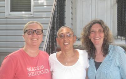 The writer, middle, with her friends Maureen and Janet