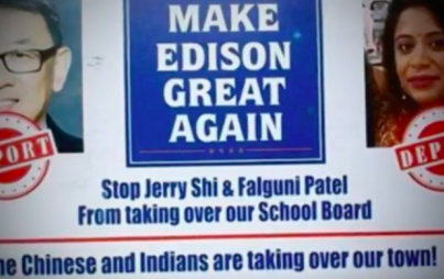 "An as of yet unknown group has sent a disturbing racist postcard to residents warning of Asians ""taking over"" Edison. (Image: YouTube/ Zevo News)"